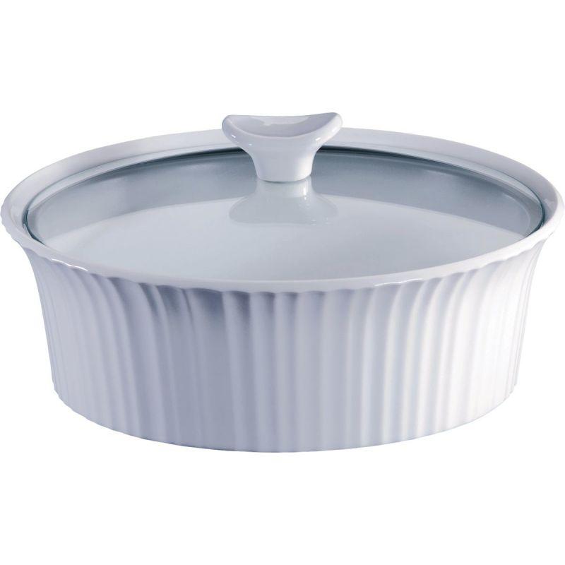 Corningware Round Covered Casserole Dish 2-1/2 Qt, French White