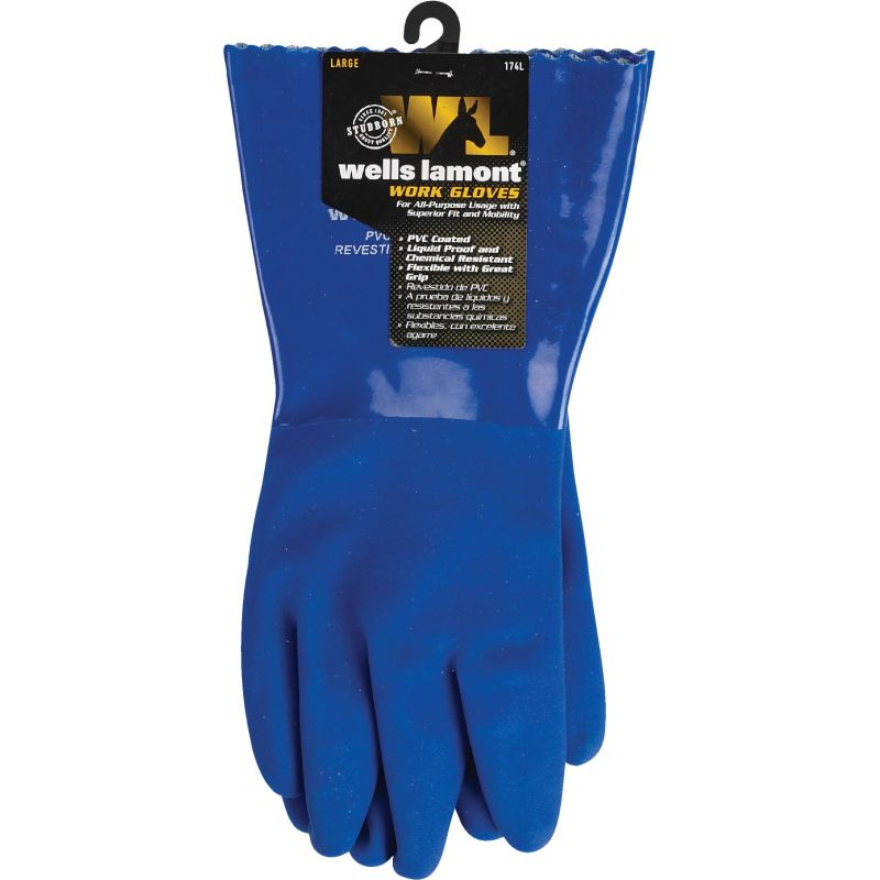 Wells Lamont Heavy-Duty Chemical Resistant PVC Coated Glove L, Blue