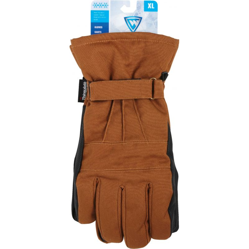 West Chester Winter Ski Glove XL, Brown & Black