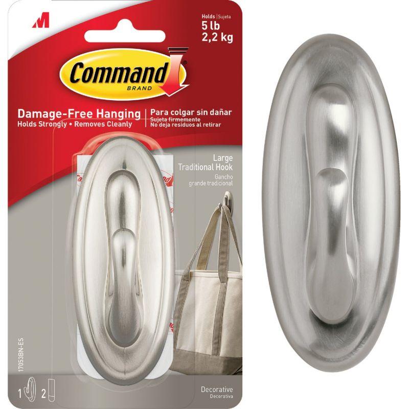 3M Command Metallic Traditional Adhesive Hook Metallic Brushed Nickel