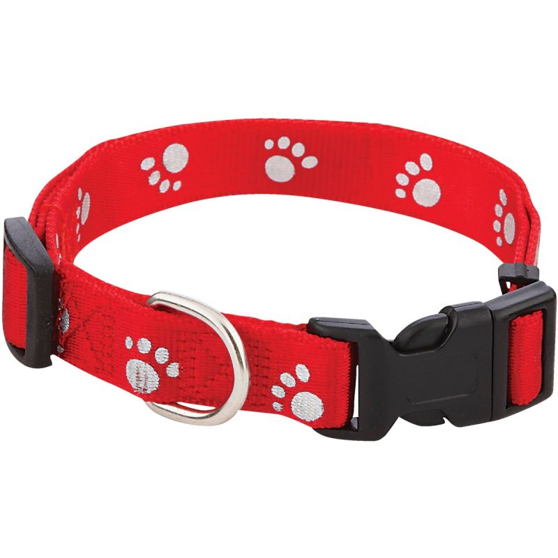 Westminster Pet Ruffin' it Reflective Paw Print Dog Collar Black/Red/Blue
