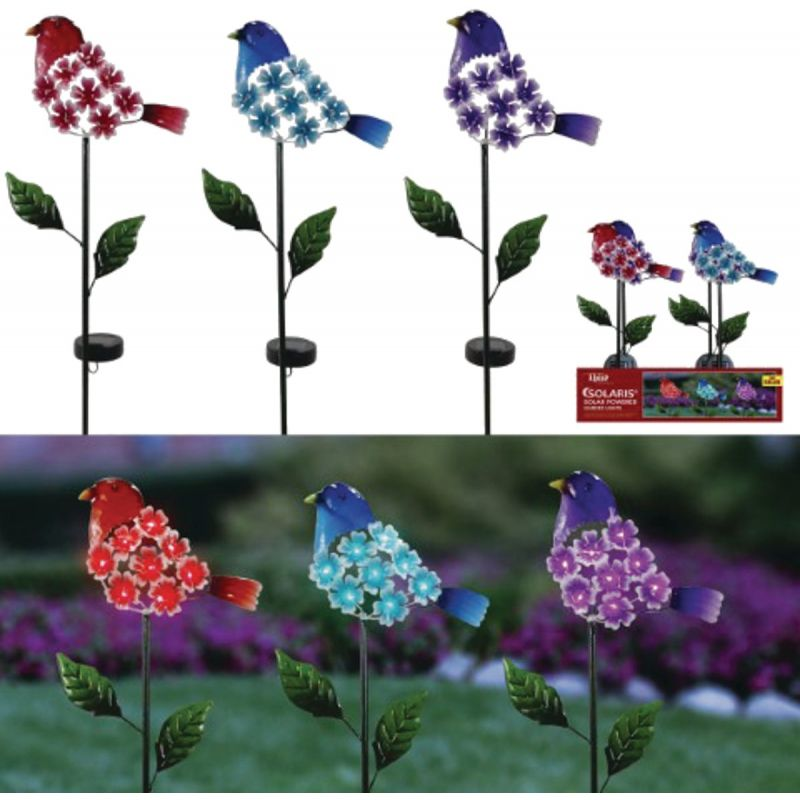 Alpine Solaris Floral Bird Solar Stake Light Assorted (Pack of 9)