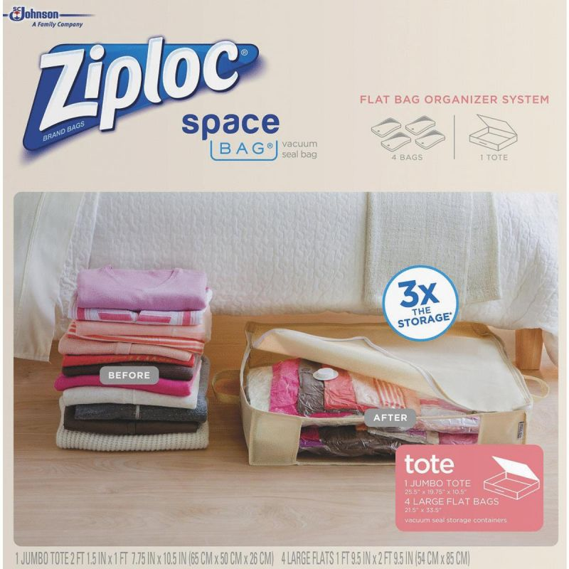 Ziploc Space Bag Vacuum Seal Tote Storage Bag Set Clear