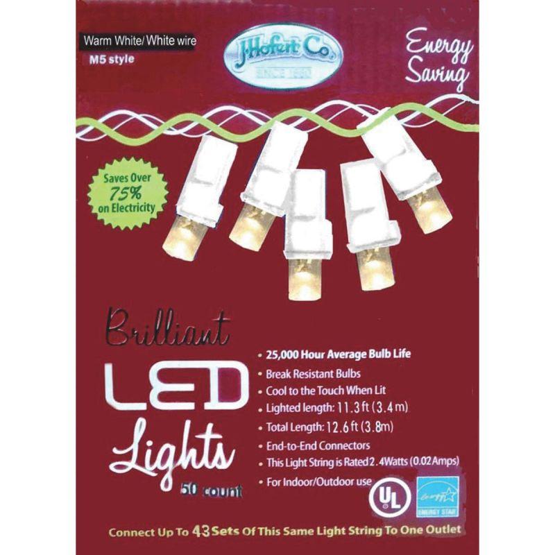 J Hofert Warm White 50-Bulb M5 LED Light Set With White Wire