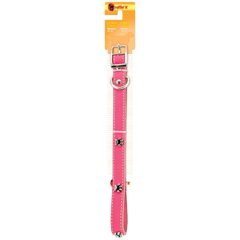 Westminster Pet Ruffin' it Ornamented Leather Dog Collar Pink/Brown/Black