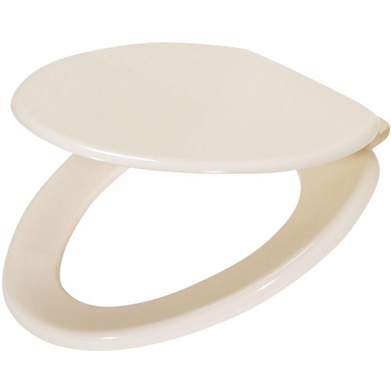 Home Impressions Elongated Wood Toilet Seat Bone, Elongated
