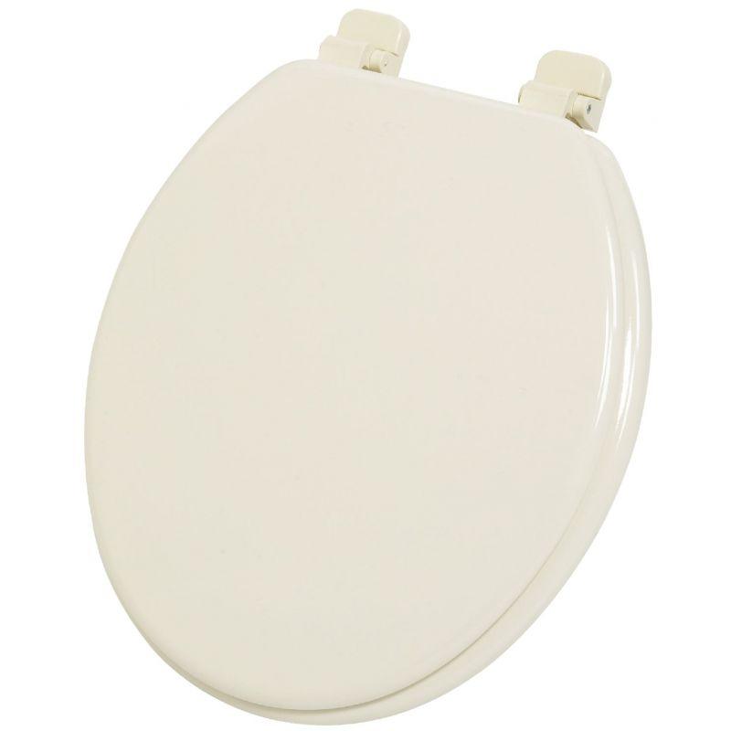 Home Impressions Round Wood Toilet Seat Bone, Round