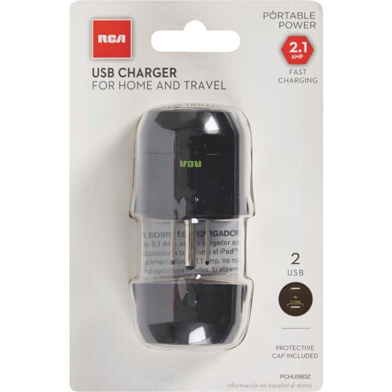RCA Compact USB Charger Black, 2.1A