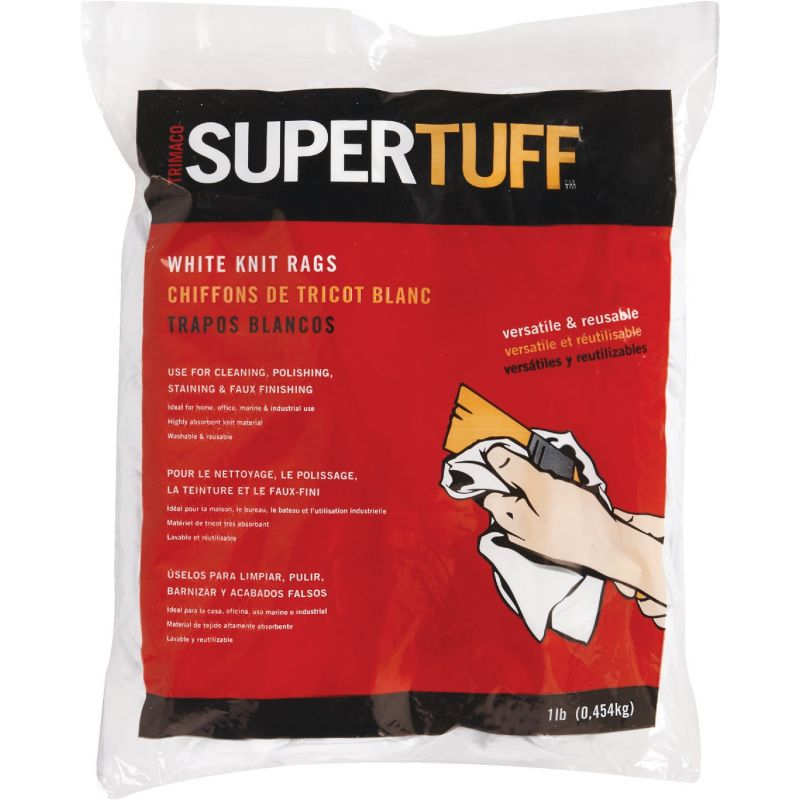 Trimaco SuperTuff White Knit Staining Rags 1 Lb., White