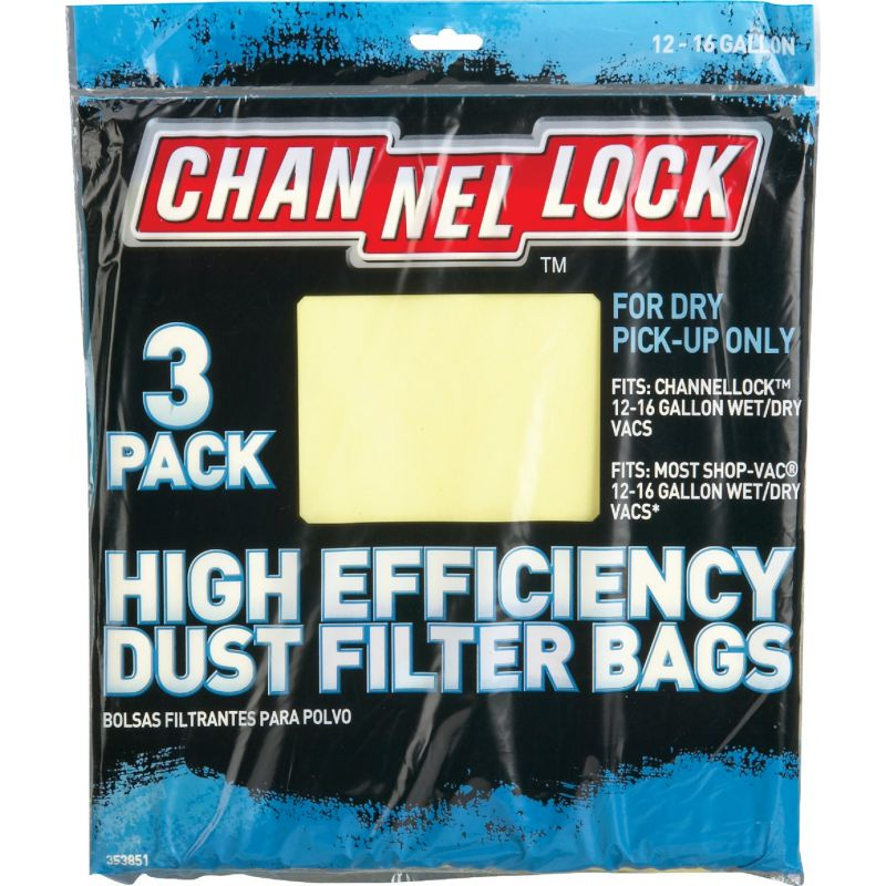 Channellock High Efficiency Dust Filter Vacuum Bag 12 To 16 Gal.