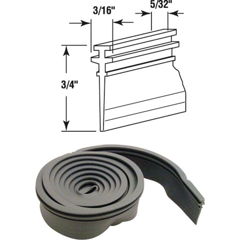 Prime-Line Double Tee Shower Door Sweep 3/4 In. W. X 36 In. L., Gray