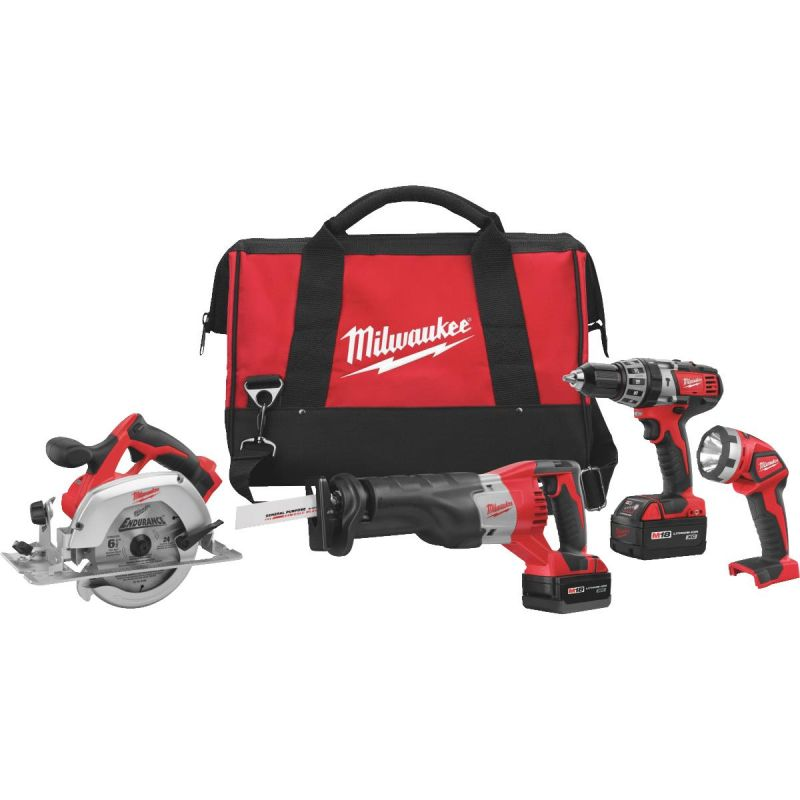 Milwaukee M18 Li-Ion 4-Tool Cordless Tool Combo Kit