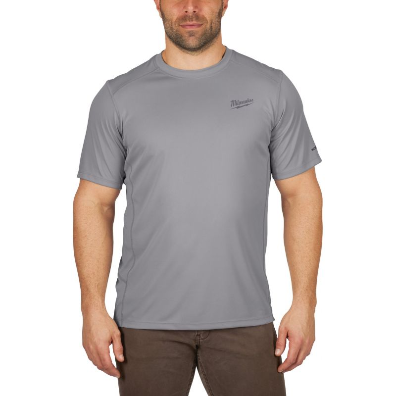 Milwaukee Workskin Lightweight Performance T-Shirt XL, Gray, Short Sleeve