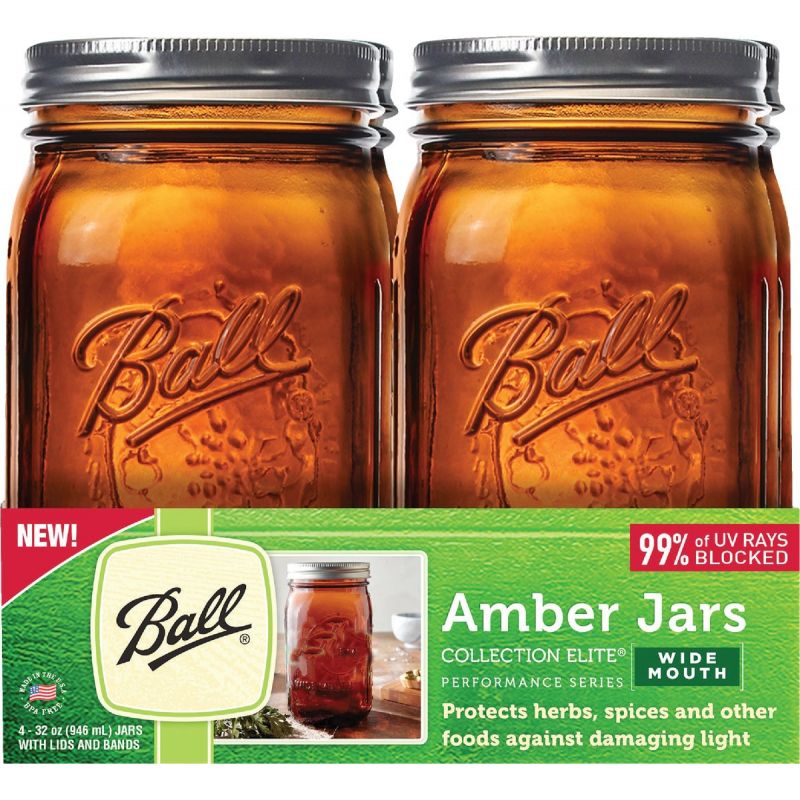 Ball Collection Elite Amber Canning Jar 1 Qt. Pack of 4