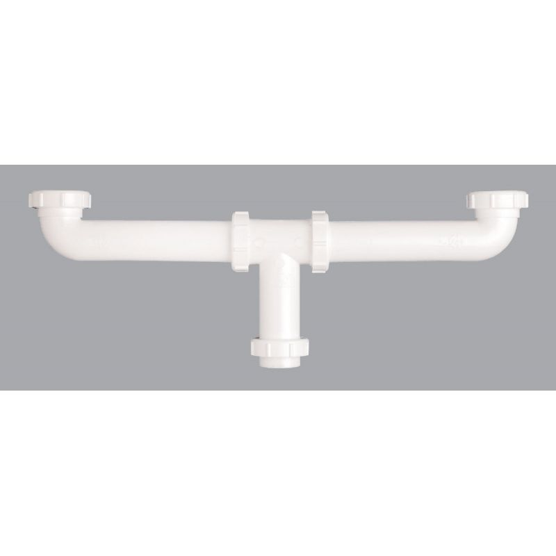 """Plastic Center Outlet Continuous Waste Slip-Joint Or Direct Connect 1-1/2"""" X 16"""""""