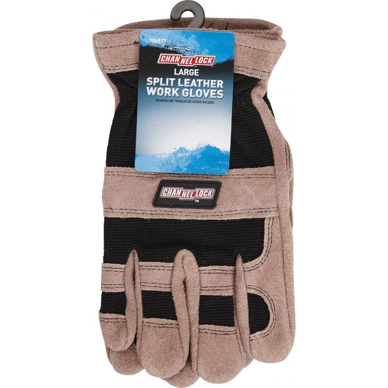 Channellock Leather Work Glove L, Brown & Black