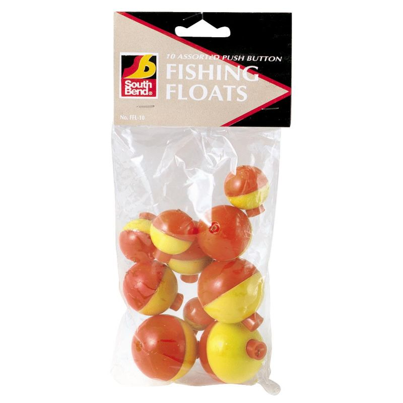 SouthBend Push-Button Fishing Bobber Floats Fluorescent Yellow & Orange