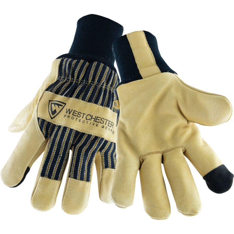 West Chester Pigskin Leather Winter Glove With Knit Wrist L, Black & Tan
