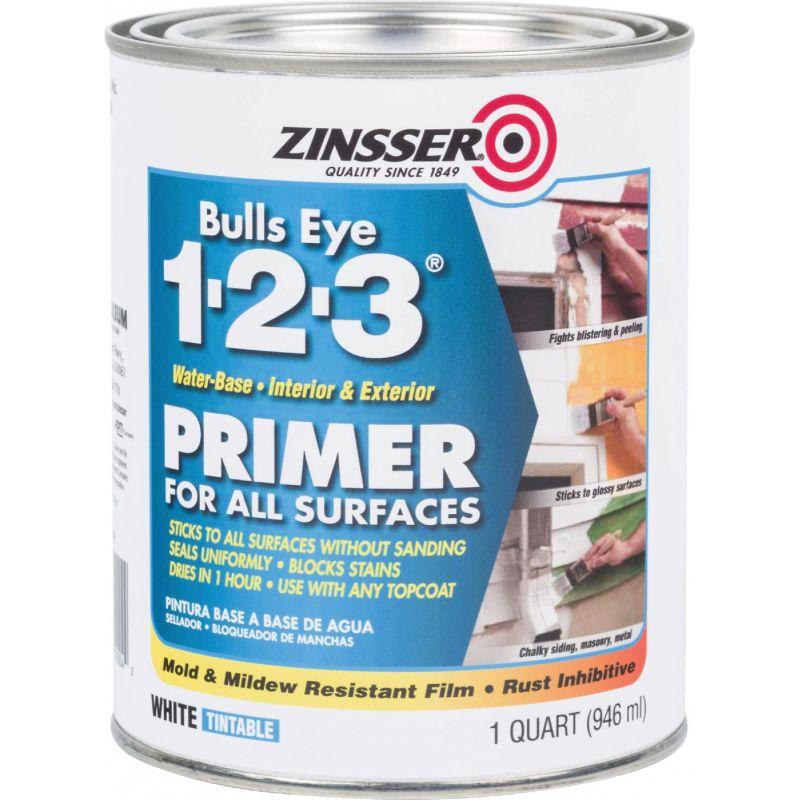 Zinsser Bulls Eye 1-2-3 Water-Base Interior/Exterior Stain Blocking Primer 1 Qt., White