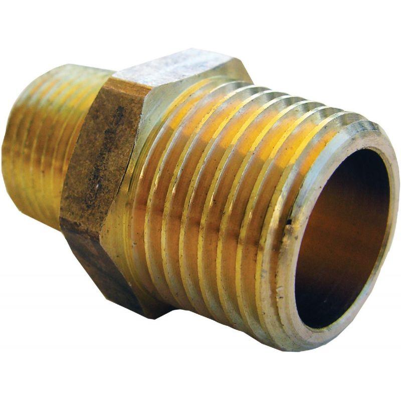 """Lasco Brass Hex Nipple 1/2"""" MPT X 3/8"""" MPT"""