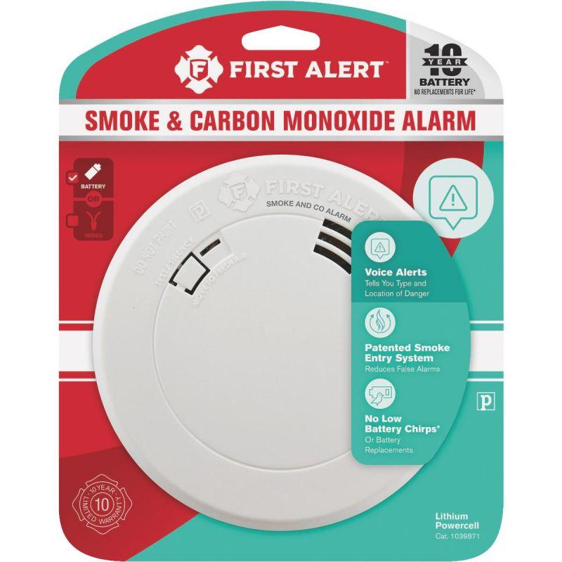 First Alert 10-Year Battery Slim Round Carbon Monoxide/Smoke Alarm With Voice Alert White