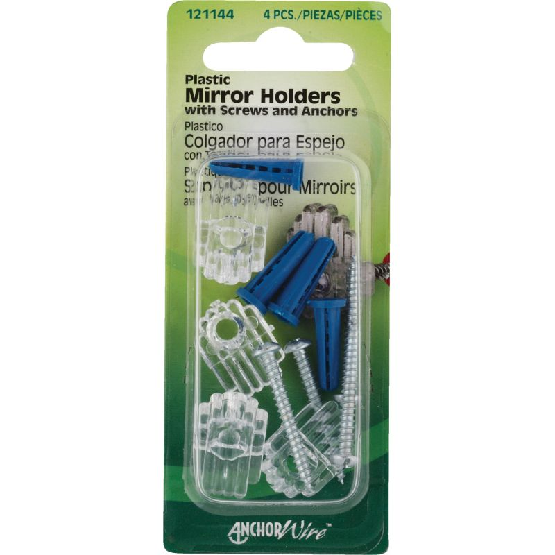 Hillman Plastic Mirror Holders & Anchors Set (Pack of 10)