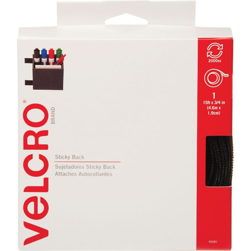 VELCRO Brand Sticky Back Reclosable Hook & Loop Roll Black