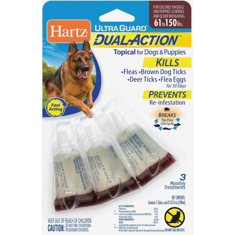 Hartz UltraGuard Dual Action Flea & Tick Treatment For Dogs & Puppies (3) 0.132 Oz. Tubes