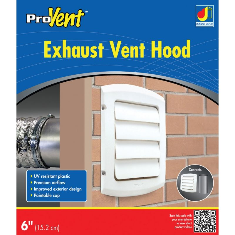 Dundas Jafine ProVent Exhaust Dryer Vent Hood 6 In., White