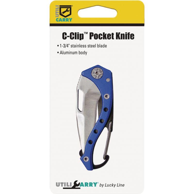 Lucky Line Utilicarry C-Clip Pocket Knife Black Or Blue, 1-3/4 In.