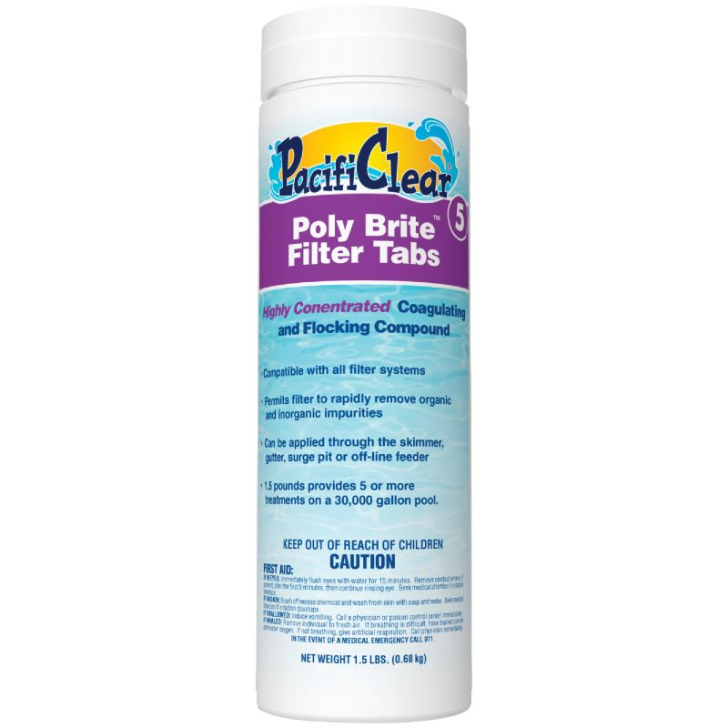 PacifiClear Poly Brite Filter Tab Clarifier 1.5 Lb.