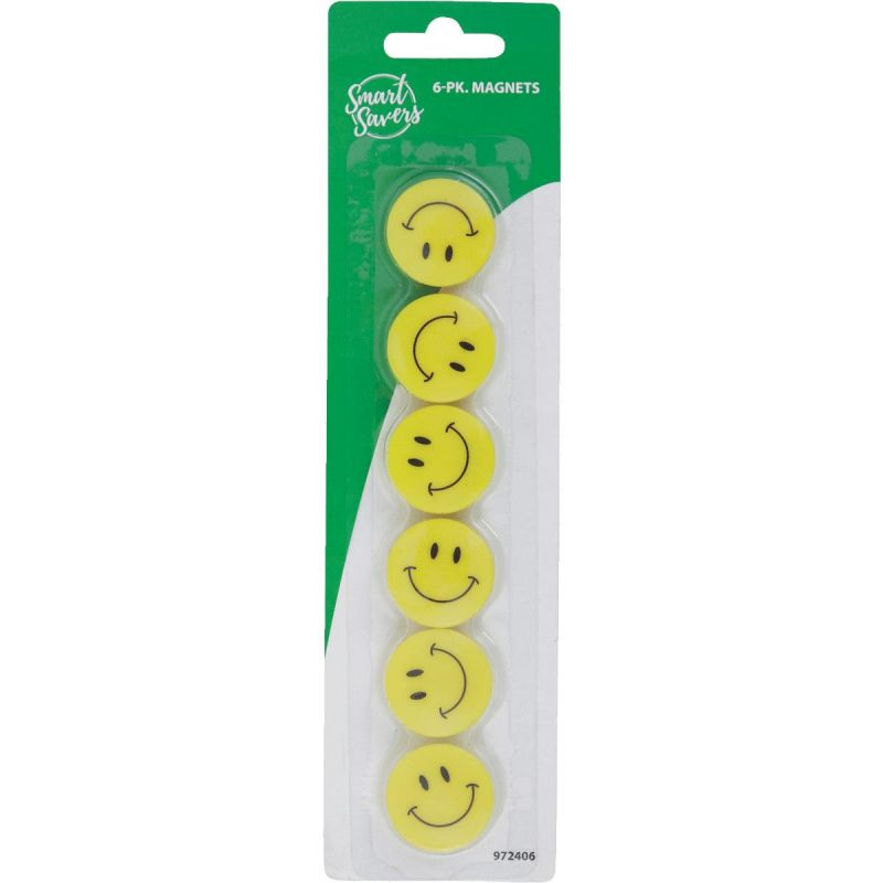 Smart Savers Magnets 1.18 In. Dia., Yellow (Pack of 12)