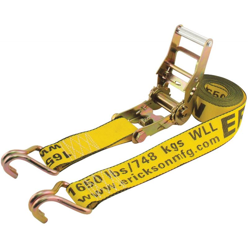 Erickson Heavy-Duty Ratchet Strap with J Hooks Yellow