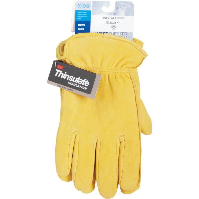 West Chester Grain Deerskin Leather Winter Glove M, Yellow