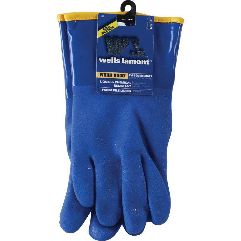 Wells Lamont Chemical Resistant PVC Coated Glove 1 Size Fits All, Blue