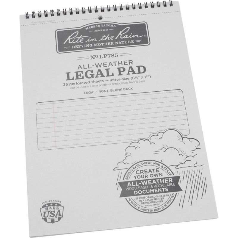 Rite in the Rain All-Weather Legal Pad 8-1/2 In. W. X 11 In. H., Gray