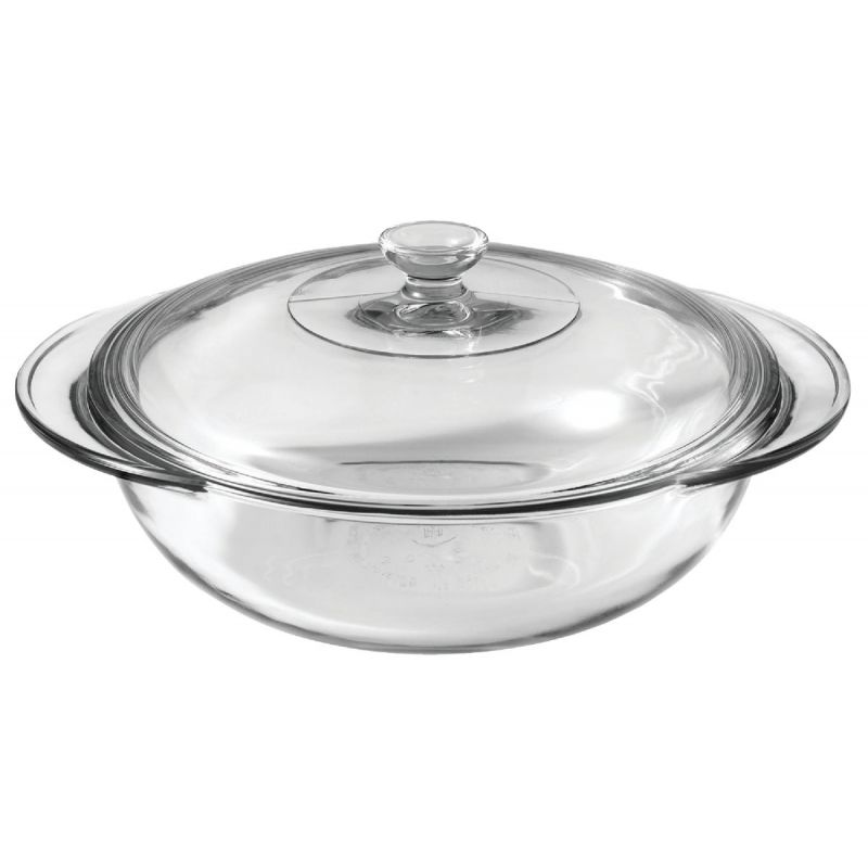 Anchor Hocking Oven Basics Covered Casserole Dish 2 Qt, Clear (Pack of 3)