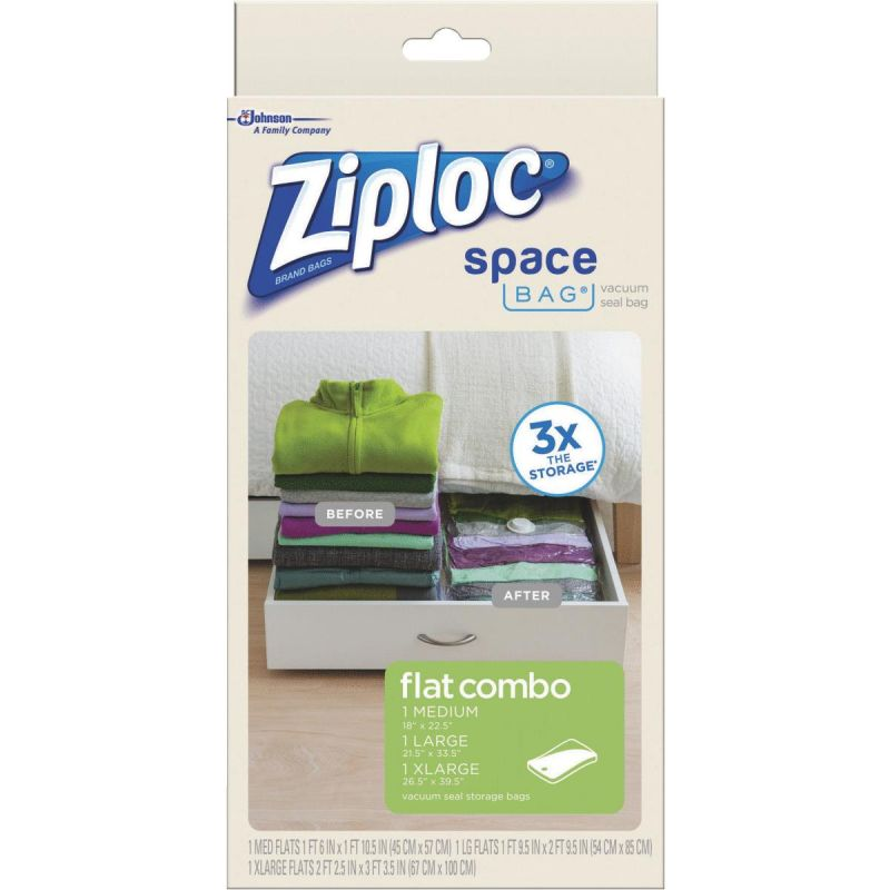 Ziploc Space Bag Vacuum Seal Flat Combo Storage Bag Clear