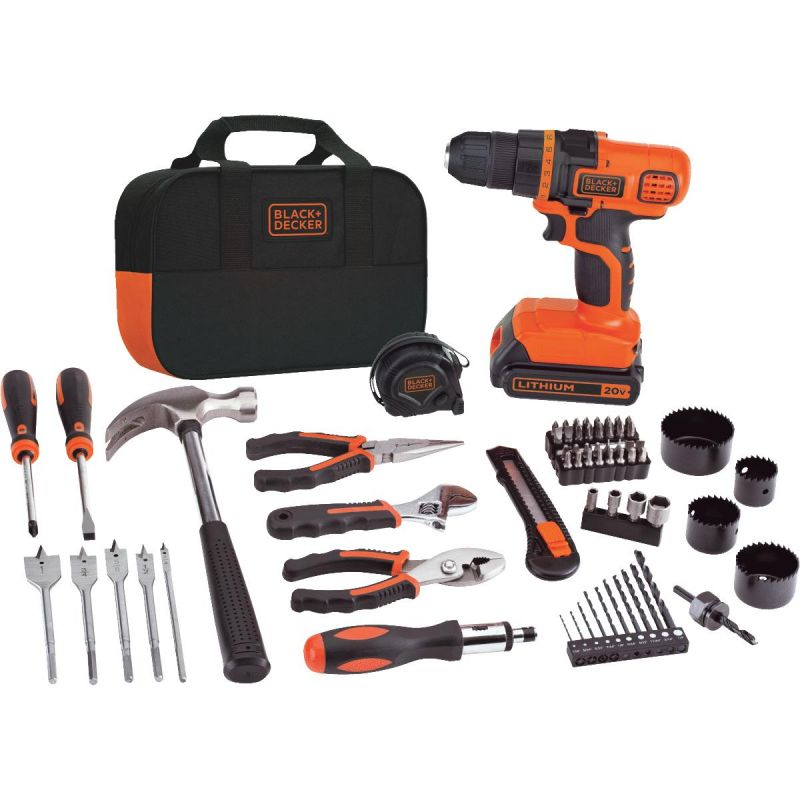 Black & Decker 20V MAX Lithium-Ion Cordless Drill 68-Piece Project Kit
