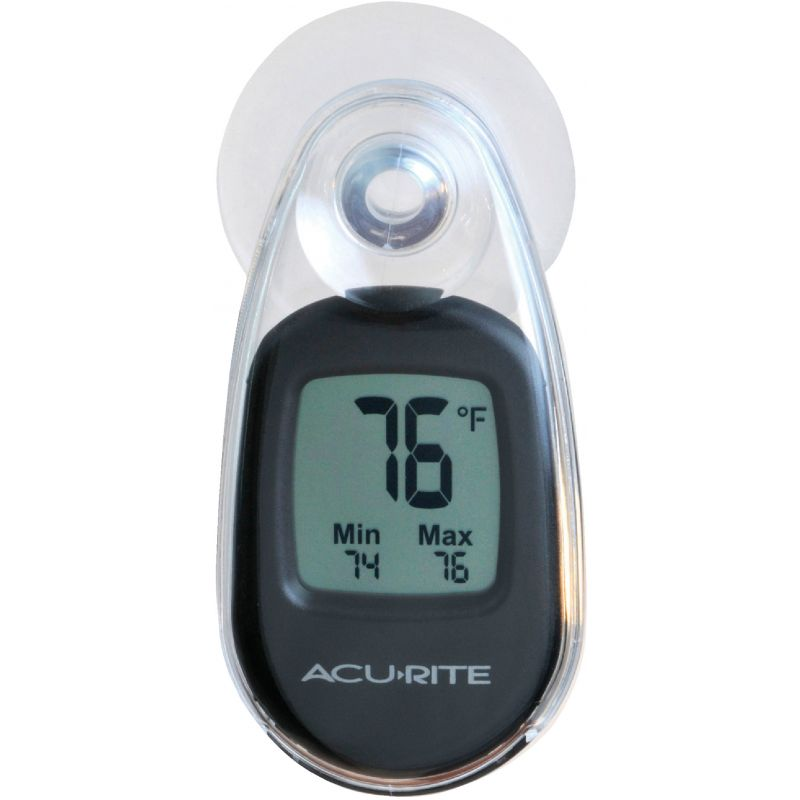 Acu-Rite Suction-Cup Window Indoor & Outdoor Thermometer 2 In. W. X 3.05 In. H. X 1.5 In. D., Black