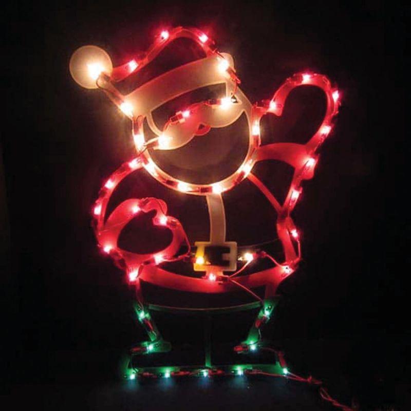 J Hofert Lighted Santa Plaque 17.5 In.