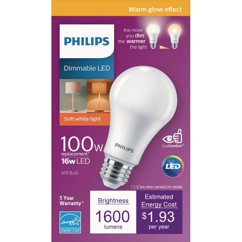 Philips Warm Glow A19 Medium LED Light Bulb, Title 20 Compliant