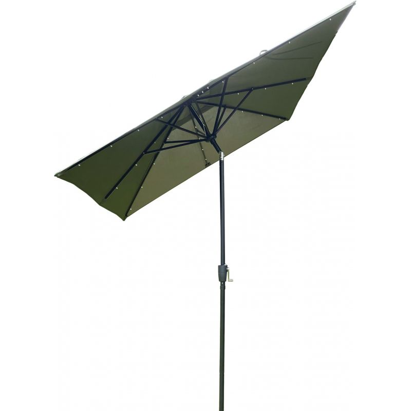 Outdoor Expressions 9 Ft. Rectangular Patio Umbrella with LED Solar Lights Heather Green
