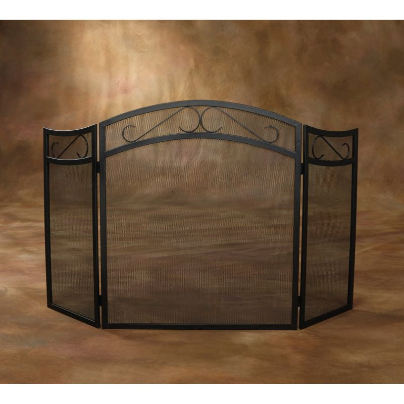 Home Impressions 3-Panel Fireplace Screen Black