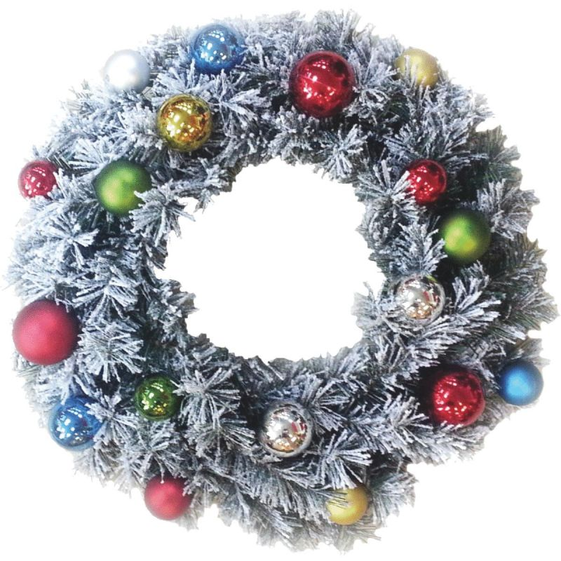 Sterling Flocked Pine Artificial Wreath 24 In., Green