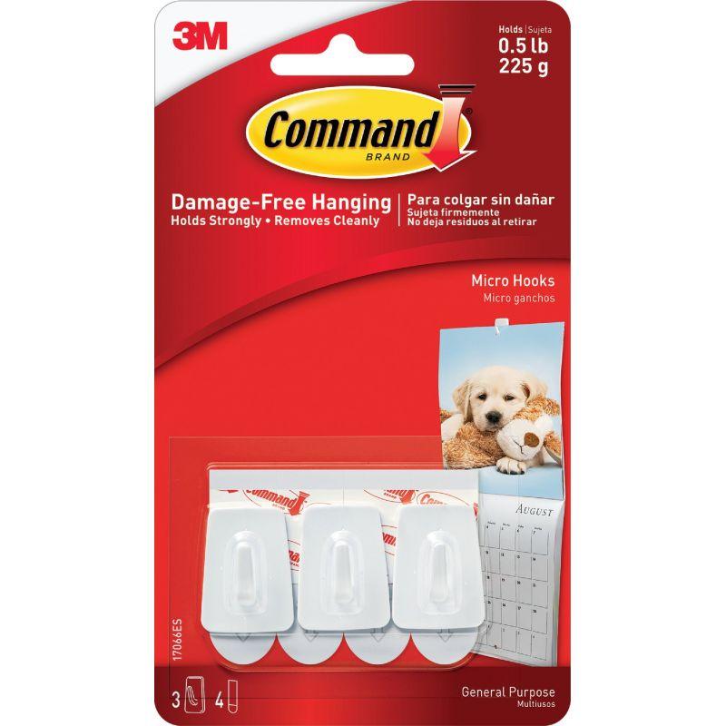3M Command Micro Utility Adhesive Hook White