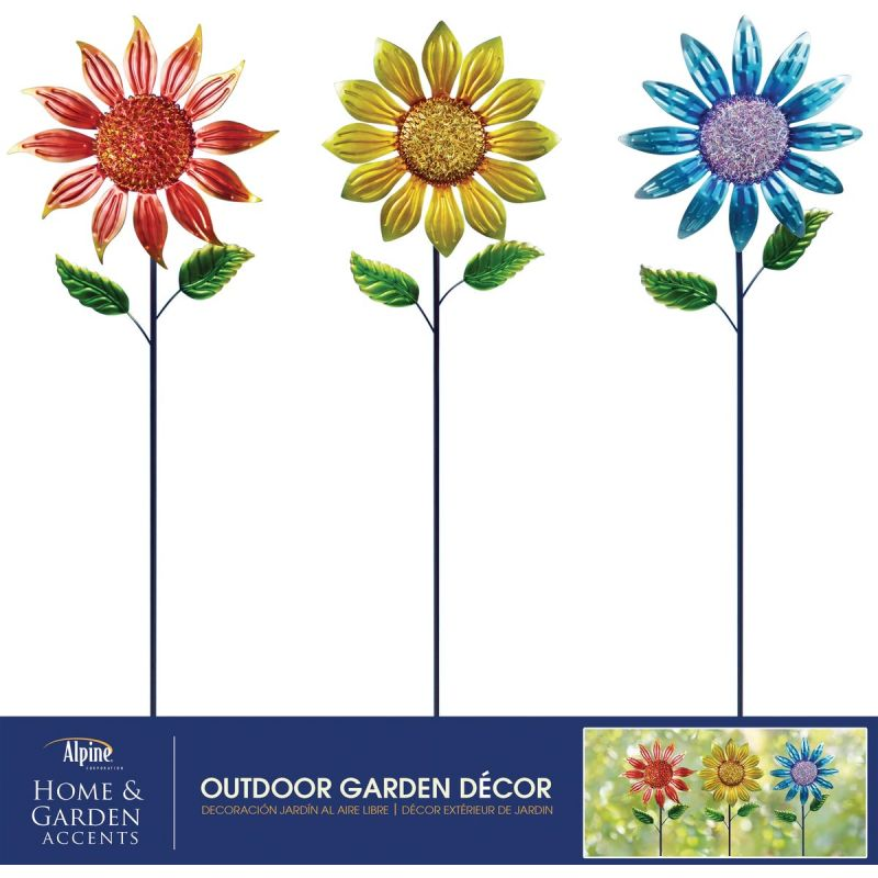 Alpine Sunflower Garden Stake Lawn Ornament Assorted (Pack of 9)
