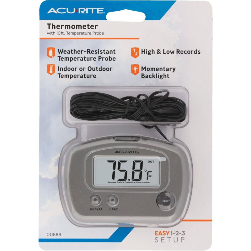 "AcuRite Digital Indoor And Outdoor Thermometer 2-3/4"" W X 3-1/8"" H, Gray"
