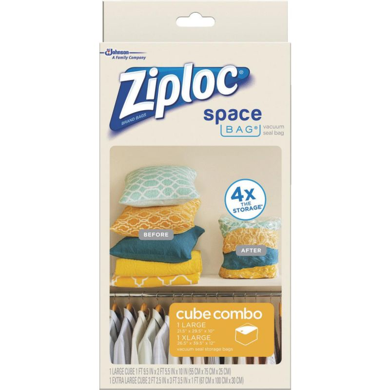 Ziploc Space Bag Vacuum Seal Cube Combo Storage Bag Clear