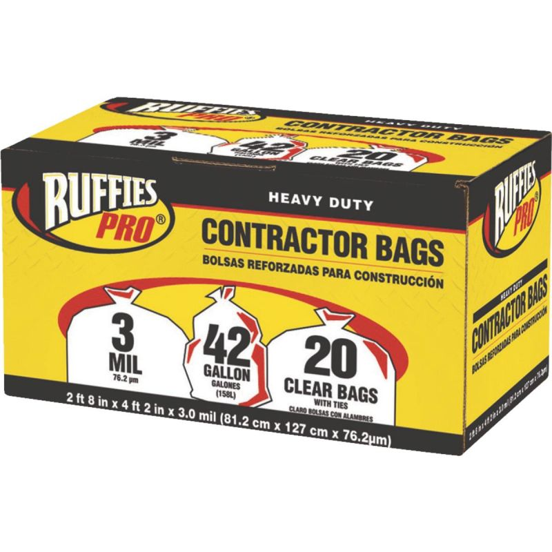 Ruffies Contractor Trash Bag 42 Gal., Clear